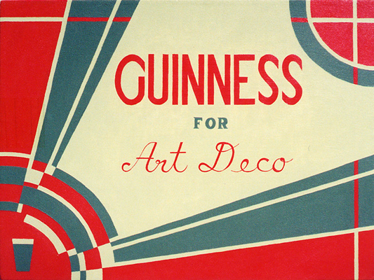GUINNESS for Art Deco retro experimental advertisement paintins acrylic on canvas for the Irish Stout Beer by fLANSBURG dESIGN