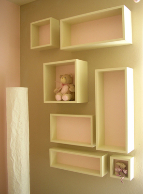 Emma Mary baby room box shelves matches crib and butterfly mobile pink for pretty little lady fLANSBURG dESIGN