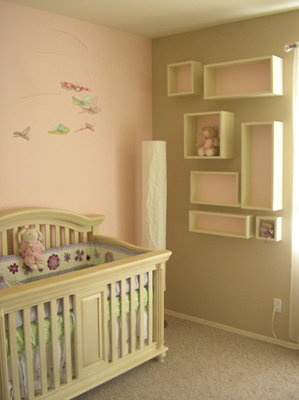 Emma Mary Baby Room custom modern geometric floating shelves with backs matching adjacent wall fLANSBURG dESIGN