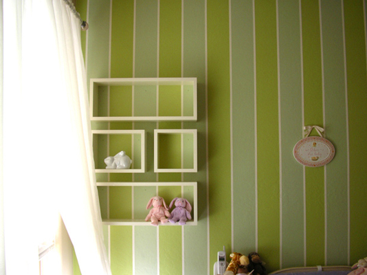 Emma Mary Baby Room custom wall boxes and shelves with seamless floating effect against green blue and white pinstrip wall fLANSBURG dESIGN
