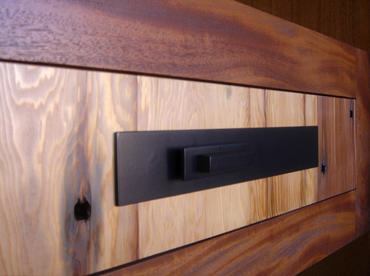 Mei Residence Reclaimed Doug Douglas Fir and Genuine Mahogany entrance custom drawer with steel pull note old oxidized nail holes in old growth douglas fir Jackson Hole Wyoming fLANSBURG dESIGN in collaboration with Aric Mei
