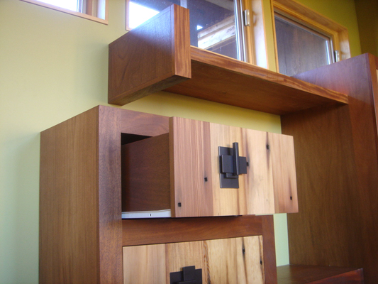 Mei Residence Reclaimed Doug Douglas Fir and Genuine Mahogany entrance shelf floating off wall and custom drawers with steel pulls note old oxidized nail holes in old growth fir Jackson Hole Wyoming fLANSBURG dESIGN in collaboration with Aric Mei