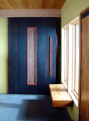 Mei Residence Reclaimed Doug Douglas Fir and Genuine Mahogany entrance huge monolithic Birchwood Casey steel 3-form and wood barn door Jackson Hole Wyoming fLANSBURG dESIGN in collaboration with Aric Mei