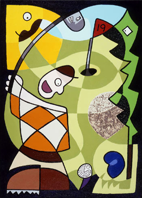 19th Hole Par 3 Anthropormorphic Golf Course Comes Alive Abstract Painting Acrylic Sand on Canvas 1998 Matthew fLANSBURG dESIGN