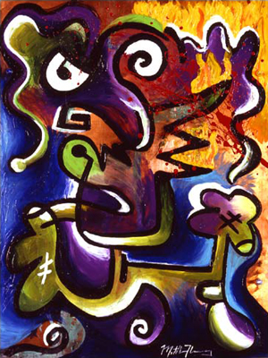 The Day I Set My Girlfriends Hair On Fire Acrylic Painting on Copper Sheet Abstract fLANSBURG dESIGN