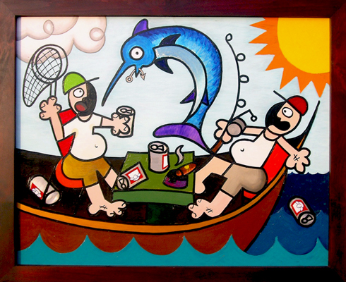 Based on A True Story Fishing Tales from the Sea Abstract Acrylic Painting on Aluminium Bear Metal Exposed for Beer Cans Drinking Good Ole Boys Drinking and Fish in the Sun Matthew Matt fLANSBURG dESIGN