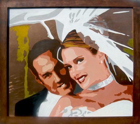 Jeff and Kara Wedding Portrait 2008 Acrylic on Copper Alder Frame Matthew Matt fLANSBURG dESIGN