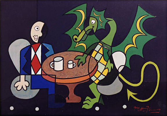 Man and Dragon Have Coffe and Expresso Respectfully Respectively Abstract Acrylic Painting on Copper Depicting Dude with Fantasy Beast Enjoying a Civilized Moment 2002 Matthew Matt fLANSBURG dESIGN